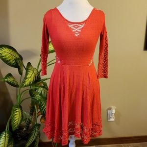 Free People red orange dress size extra small